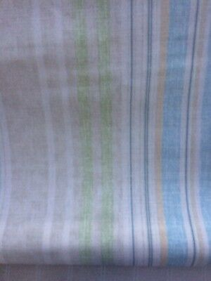 🌿 Laura Ashley Carey Stripe Nautical / Deckchair Fabric - Chalk Blue Green - 1m