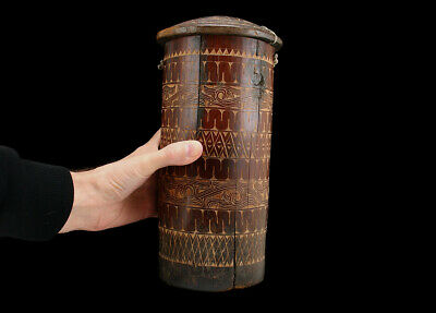 BATAK BAMBOO STORAGE CONTAINER w LID  SUMATRA INDONESIA  INTRICATE CARVED DESIGN