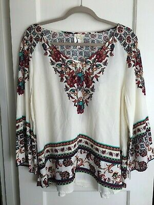 acf8cbc4b7a953 NWT ANTHROPOLOGIE FIG & FLOWER PEASANT Blouse Boho Long TOP Tunic Rayon L  Flora