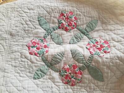 Antique Applique Hand Quilted Floral Quilt  Soft Spring Color Pinks Greens White