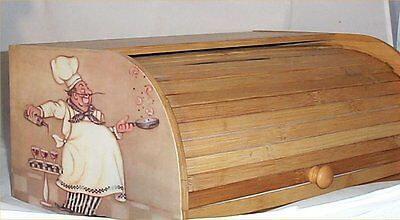 Fat Chef Bread Box Bamboo Wood Country Farm Kitchen Roll Top Lodge Decor