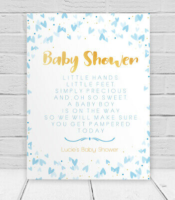 Baby Shower Personalised Table Sign & Poem, Poster Pink Blue