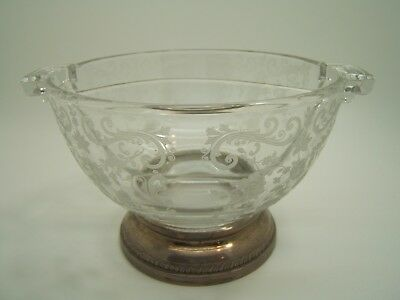 Vintage 2 Section Floral Etch Glass Bowl Sterling Silver Foot Mark Sheffield Co.