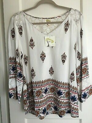 95e9cdf3729109 NWT ANTHROPOLOGIE FIG & FLOWER PEASANT Blouse Boho Long TOP Tunic Rayon L  Lace