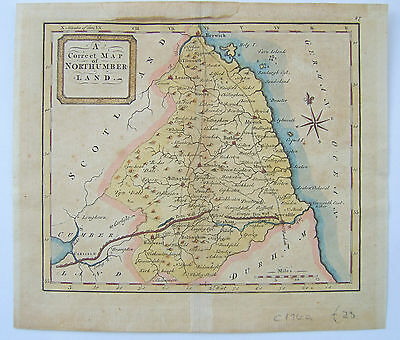 Northumberland: antique map by Thomas Hutchinson, c1748