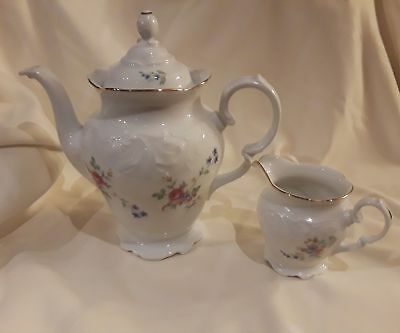 New Wawel China Tea Coffee Pot and Creamer Rose Garden Made in Poland