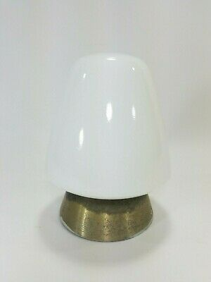 Vintage Art Deco Mid Century Milk Glass Ceiling Light Fixture Hall Bathroom
