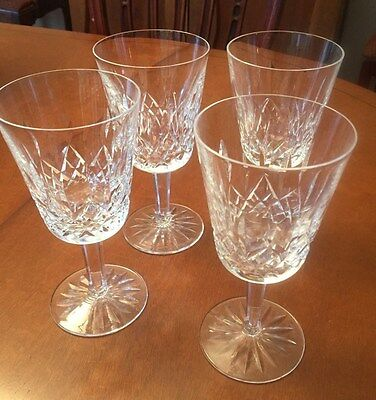 """Waterford Crystal Lismore Pattern Water Glasses Goblets 4- 6 7/8"""" SIGNED"""