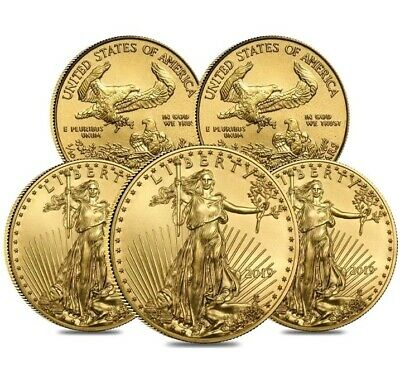 Pre Sale - Lot Of 5 - 2019 1/10 oz Gold American Eagle $5 Coin.
