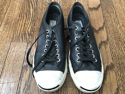 350c84bae6e8 Converse Mens Jack Purcell Size 8.5 Black Leather Sneakers
