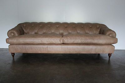 "Spectacular Mint ""Bagsie"" Chesterfield Sofa in Beaten Walnut Leather, Handmad..."
