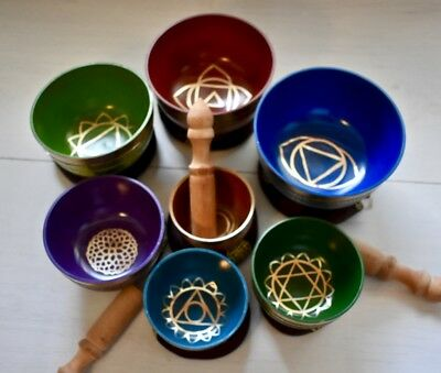 Singing Bowl, Chakra Set, Vibrant, hand-crafted in Nepal.