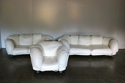 "Rare Edra ""Corbeille"" 2 Sofa & Armchair Suite in Impeccable Chalk White Cream..."