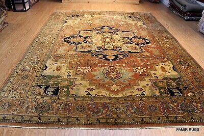 ON SALE 9' X 12' Persian Design Serapi Design Rust color Handmade Knotted