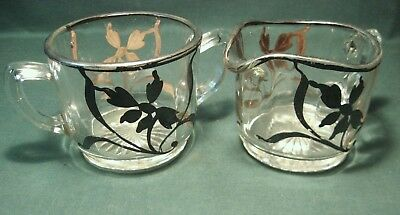Vintage Silver Overlay Glass Creamer And Sugar-