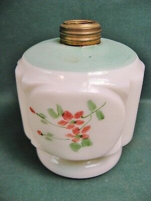 Vintage Hand Painted Milk Glass Oil Lamp Base-