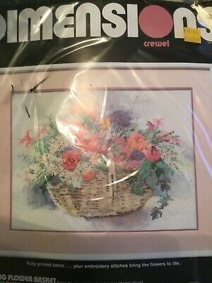 Dimensions Spring Flower Basket Crewel Embroidery Kit #1365 UNOPENED.     #49/4