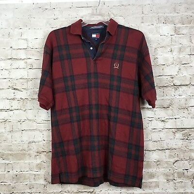 e652b17cb Vintage Tommy Hilfiger Polo Shirt Large 90's Men's Red Green Plaid Short  Sleeve