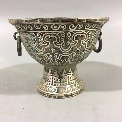 Chinese Old Brass silver plated inscription basin Home decorations RN