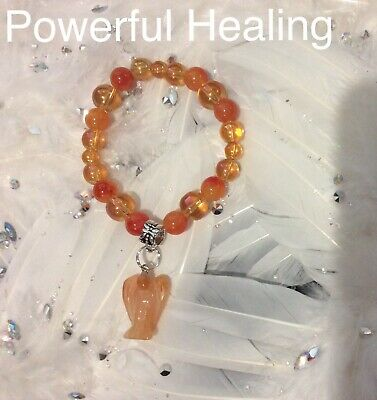 Code 468 Powerful Healing Agate Angel Aura Infused Charged Bracelet Carved Ang