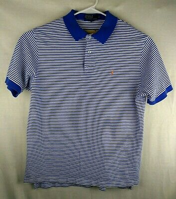 POLO Ralph Lauren | Men's Skinny Blue & White Stripe Golf Shirt Short Sleeve XL