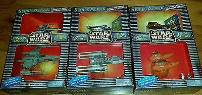 Micro Machines Star Wars Action Fleet Alpha Lot of 3 X-wing Y Wing Pod Cloud Car