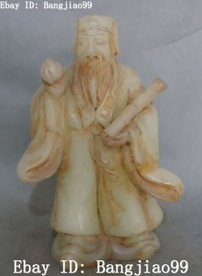 """11"""" Fine China Old Jade Hand Carving Shou Peach Man Person Immortal God Statue"""