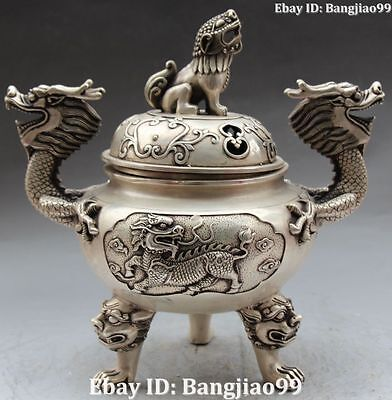 """12"""" Chinese Fengshui Silver Dragon Lion kylin Incense Burners Censer Statue"""