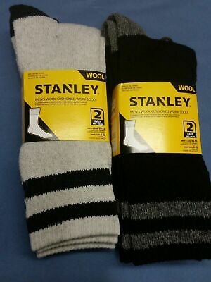 4 Pairs Stanly Wool Or Explorer Thick Cotton / Wool Works Socks 3-8/7-11/11-14