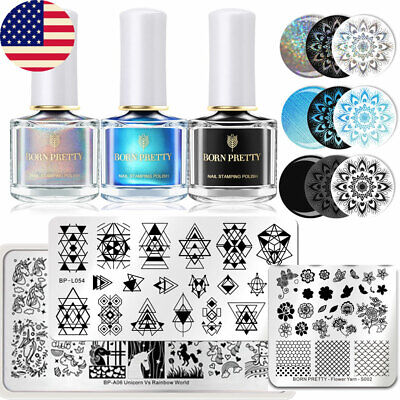 BORN PRETTY  Salon Set Nail Stamping Plates Stamper UV Gel Nail Polish