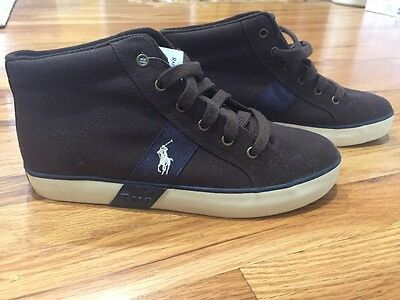 5a1fcb24b NEW Hightop Polo Ralph Lauren Big Kid Boys Brown Canvas Sneakers Shoes 6