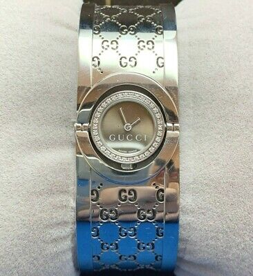 6b762c8f9b7 Gucci 112 Twirl Diamond Stainless Steel Bangle Watch...very Rare!! Box