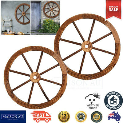 X2 Large Wooden Wagon Wheel Timber Garden Outdoor Decor Wall Feature 60cm