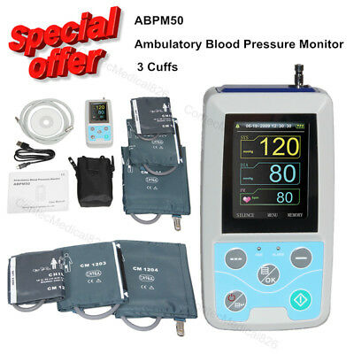 24 Hours Ambulatory Blood Pressure Monitor NIBP Holter with 3 Cuffs+Software,USA