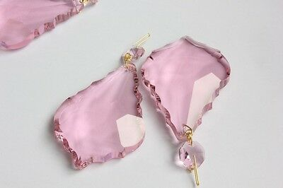 50MM PINK French Crystals Prisms Chain Pendant Chandelier Weddings 10STR