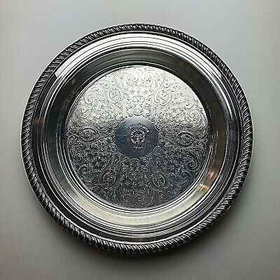 Poole Silver Plate Footed Pie Tray Pyrex Glass Insert Vintage Server