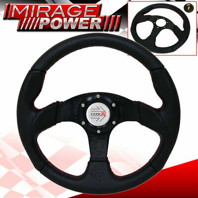 Type R Horn Button Universal Black Silver Steering Wheel Red Stitching