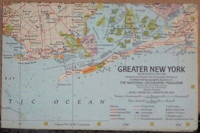 Vintage 1964 National Geographic Map of Greater New York