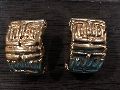Vintage Givenchy Emblem Logo Curvy Half Hoop GoldTone Clip Earrings