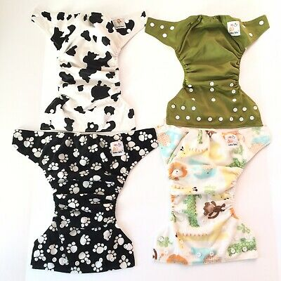 Lot Of 4 Kawaii Baby Pocket Cloth Diapers Snaps One Size Infant To Toddler Diapering