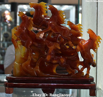 """12"""" Rare Chinese Natural Agate Onyx Hand-Carved Success Running 8 Horse Horses"""