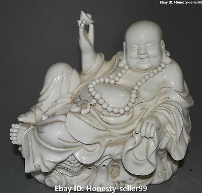 "10"" Chinese Dehua Porcelain Happy Laugh Maitreya Buddha Wealth Yuanbao Statue"