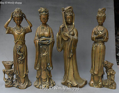 "12"" Chinese Bronze Stand Ancient Four Great Beauties Belle Beauty Statue Set"