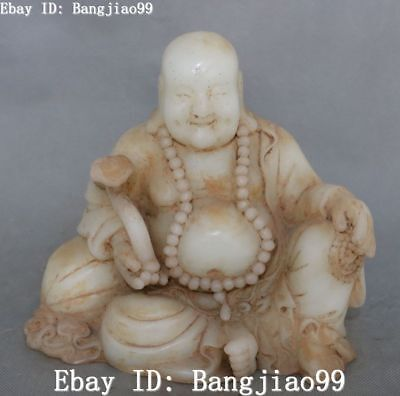 "8"" Old Jade Carving Wealth Ruyi Money Bag Happy Laugh Maitreya Buddha Statue"