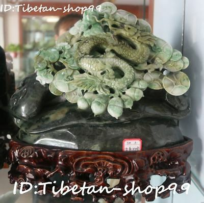"11"" Top Natural Dushan Jade Dragon Loong peanut Wealth Coin Wishful Ruyi Statue"