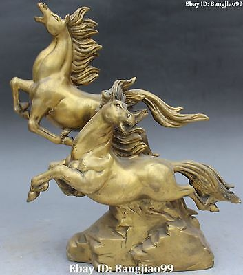 """11"""" Chinese Fengshui Bronze Success Running Double Horse Horses Animal Statue"""