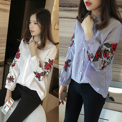 2019 Hot Korean Summer Women Ladies Casual Floral Long Sleeve Blouse Shirt Tops