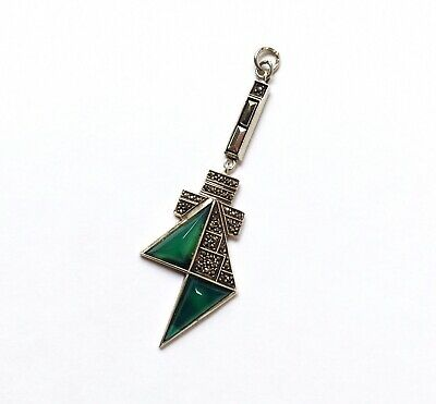 Antique Art Deco Sterling Silver Chrysoprase & Marcasite Pendant, 1930s Germany
