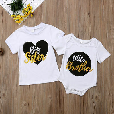 Little Brother Kids Baby Boy Romper Bodysuit Big Sister T-shirt Tops Outfits CA