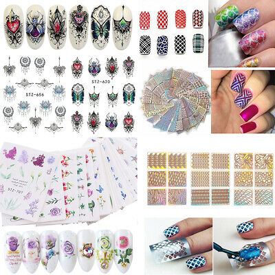 Lots Sheets Nail Art Water Decals Stickers Transfers Spring Water Effect Flowers